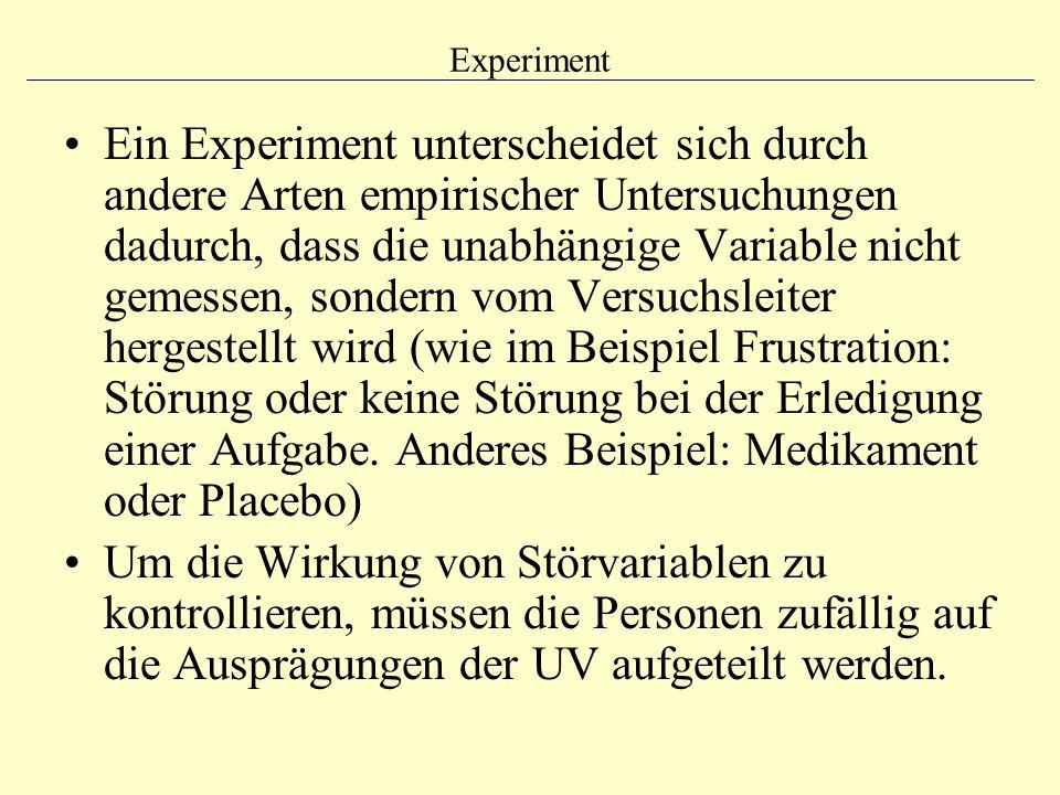 Experiment Ein Experiment unterscheidet sich durch andere Arten empirischer Untersuchungen dadurch, dass die unabhängige Variable nicht gemessen, sond