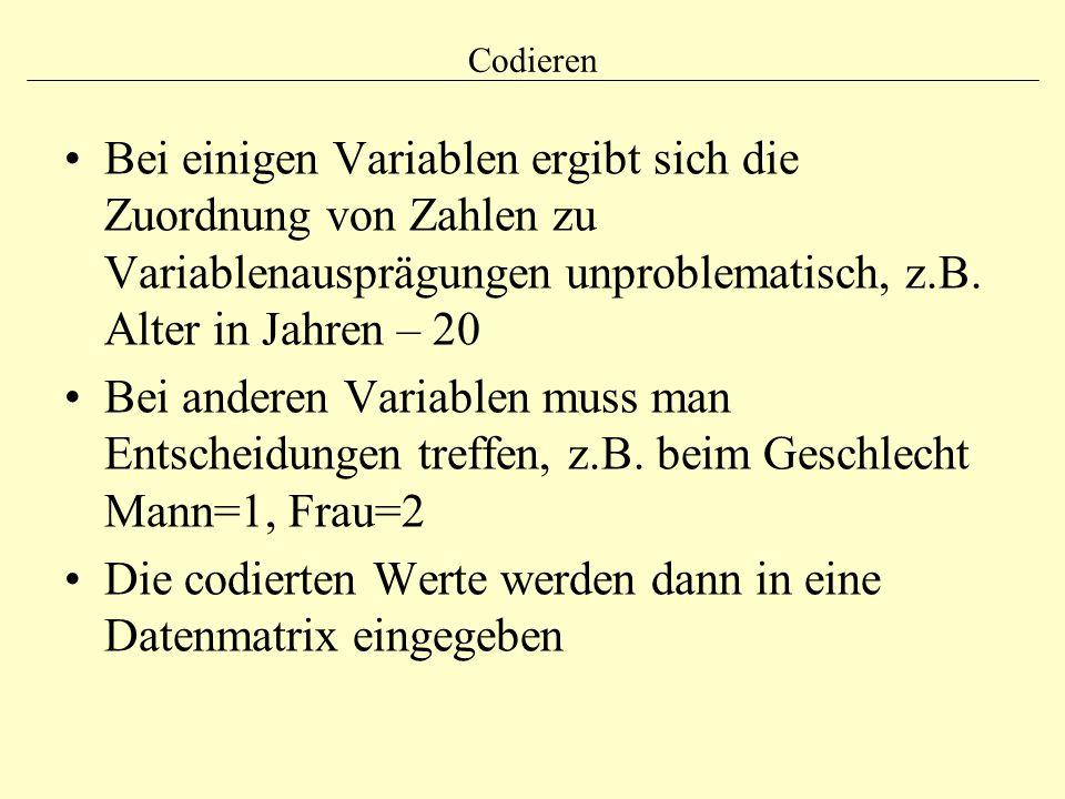 Codieren Bei einigen Variablen ergibt sich die Zuordnung von Zahlen zu Variablenausprägungen unproblematisch, z.B. Alter in Jahren – 20 Bei anderen Va