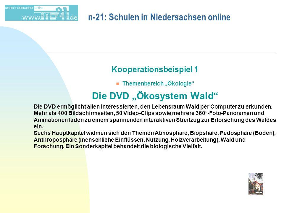 """n-21: Schulen in Niedersachsen online Kooperationsbeispiel 1 n Themenbereich """"Ökologie Die DVD """"Ökosystem Wald Die DVD ermöglicht allen Interessierten, den Lebensraum Wald per Computer zu erkunden."""
