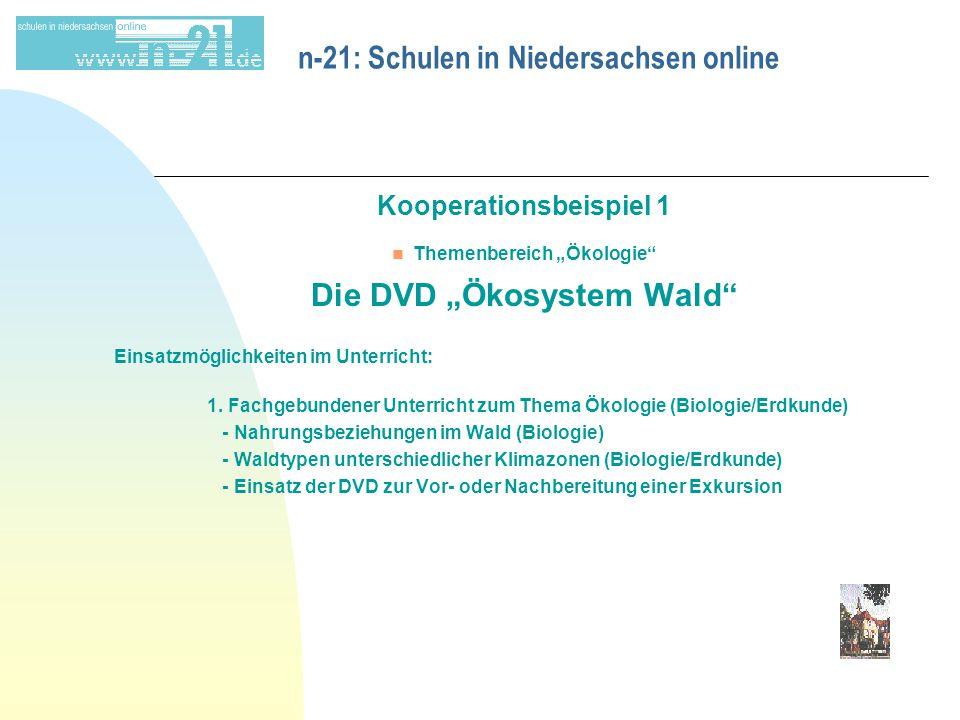 """n-21: Schulen in Niedersachsen online Kooperationsbeispiel 1 n Themenbereich """"Ökologie Die DVD """"Ökosystem Wald Einsatzmöglichkeiten im Unterricht: 1."""