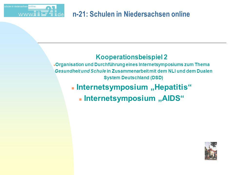 """n-21: Schulen in Niedersachsen online Kooperationsbeispiel 2 n Organisation und Durchführung eines Internetsymposiums zum Thema Gesundheit und Schule in Zusammenarbeit mit dem NLI und dem Dualen System Deutschland (DSD) n Internetsymposium """"Hepatitis n Internetsymposium """"AIDS"""