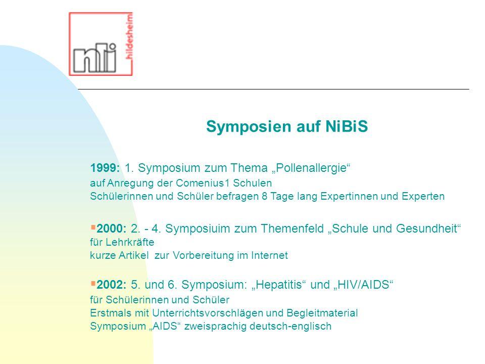 """1999: 1. Symposium zum Thema """"Pollenallergie"""" auf Anregung der Comenius1 Schulen Schülerinnen und Schüler befragen 8 Tage lang Expertinnen und Experte"""