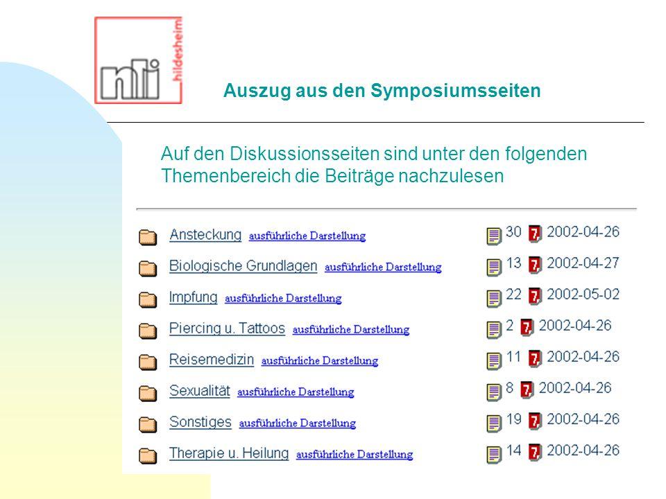 Auszug aus den Symposiumsseiten Auf den Diskussionsseiten sind unter den folgenden Themenbereich die Beiträge nachzulesen