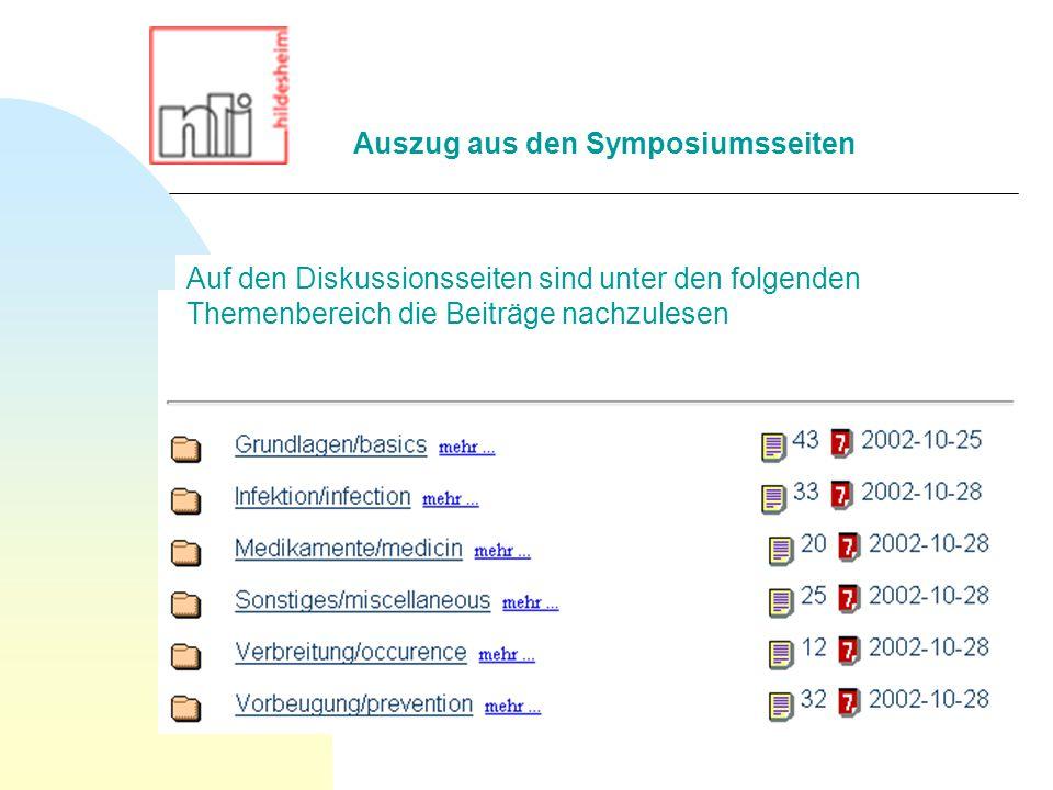 Auf den Diskussionsseiten sind unter den folgenden Themenbereich die Beiträge nachzulesen Auszug aus den Symposiumsseiten