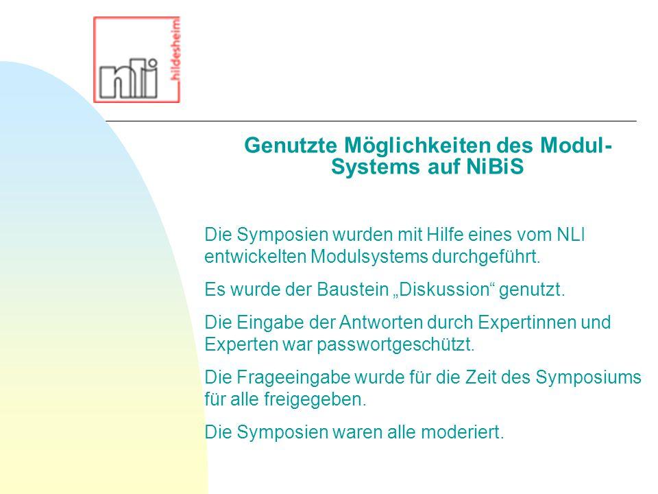Die Symposien wurden mit Hilfe eines vom NLI entwickelten Modulsystems durchgeführt.