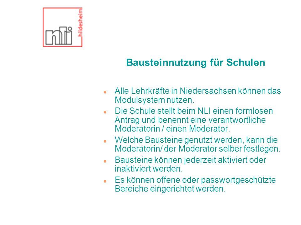 Bausteinnutzung für Schulen n Alle Lehrkräfte in Niedersachsen können das Modulsystem nutzen.