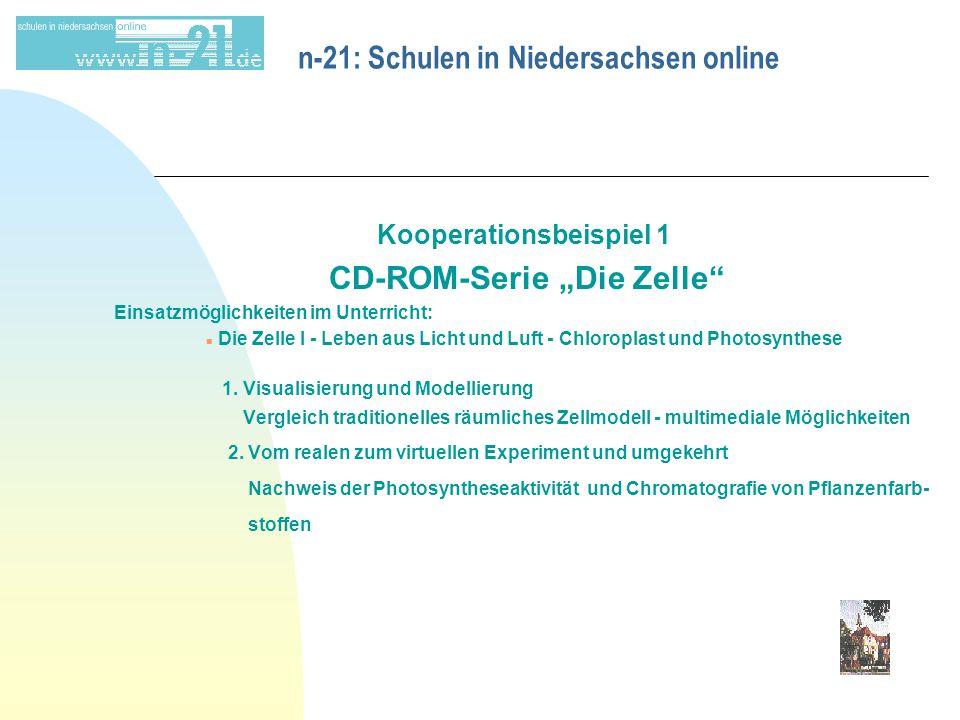"""n-21: Schulen in Niedersachsen online Kooperationsbeispiel 1 CD-ROM-Serie """"Die Zelle Einsatzmöglichkeiten im Unterricht: n Die Zelle I - Leben aus Licht und Luft - Chloroplast und Photosynthese 1."""