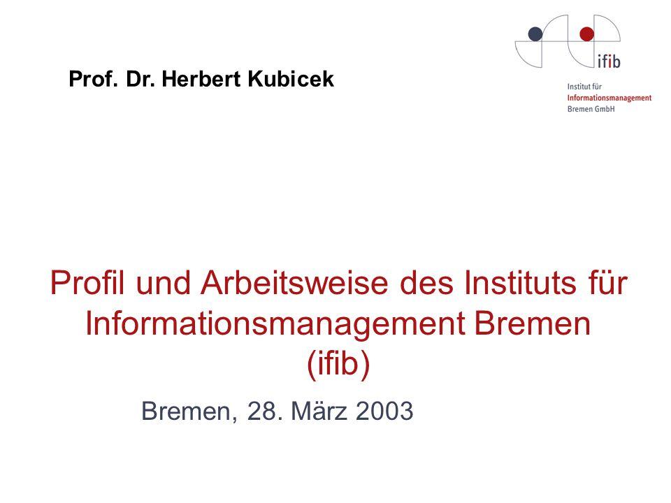 Profil und Arbeitsweise des Instituts für Informationsmanagement Bremen (ifib) Bremen, 28.