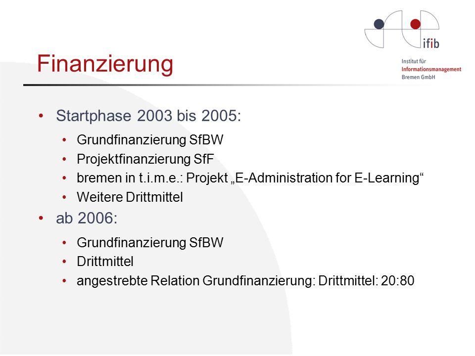 """Finanzierung Startphase 2003 bis 2005: Grundfinanzierung SfBW Projektfinanzierung SfF bremen in t.i.m.e.: Projekt """"E-Administration for E-Learning Weitere Drittmittel ab 2006: Grundfinanzierung SfBW Drittmittel angestrebte Relation Grundfinanzierung: Drittmittel: 20:80"""