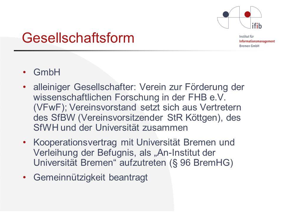 Gesellschaftsform GmbH alleiniger Gesellschafter: Verein zur Förderung der wissenschaftlichen Forschung in der FHB e.V.