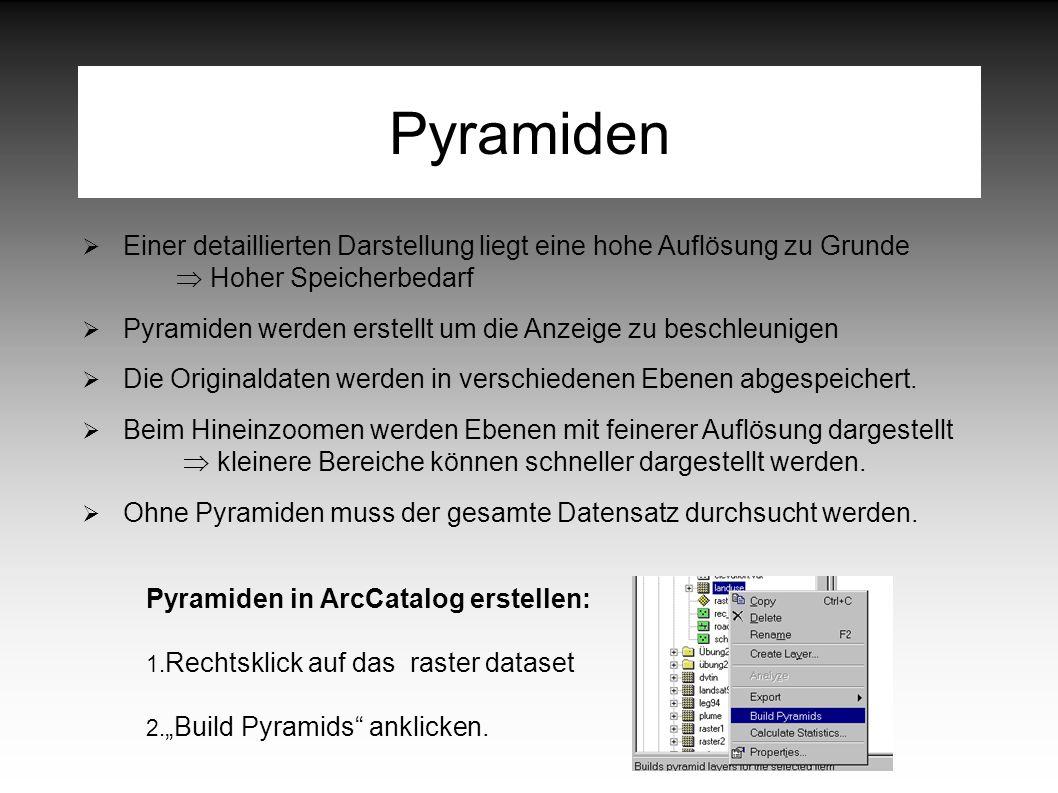 Pyramiden  Einer detaillierten Darstellung liegt eine hohe Auflösung zu Grunde  Hoher Speicherbedarf  Pyramiden werden erstellt um die Anzeige zu beschleunigen  Die Originaldaten werden in verschiedenen Ebenen abgespeichert.