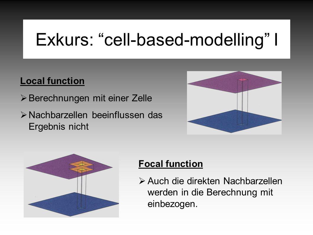 Exkurs: cell-based-modelling I Focal function  Auch die direkten Nachbarzellen werden in die Berechnung mit einbezogen.