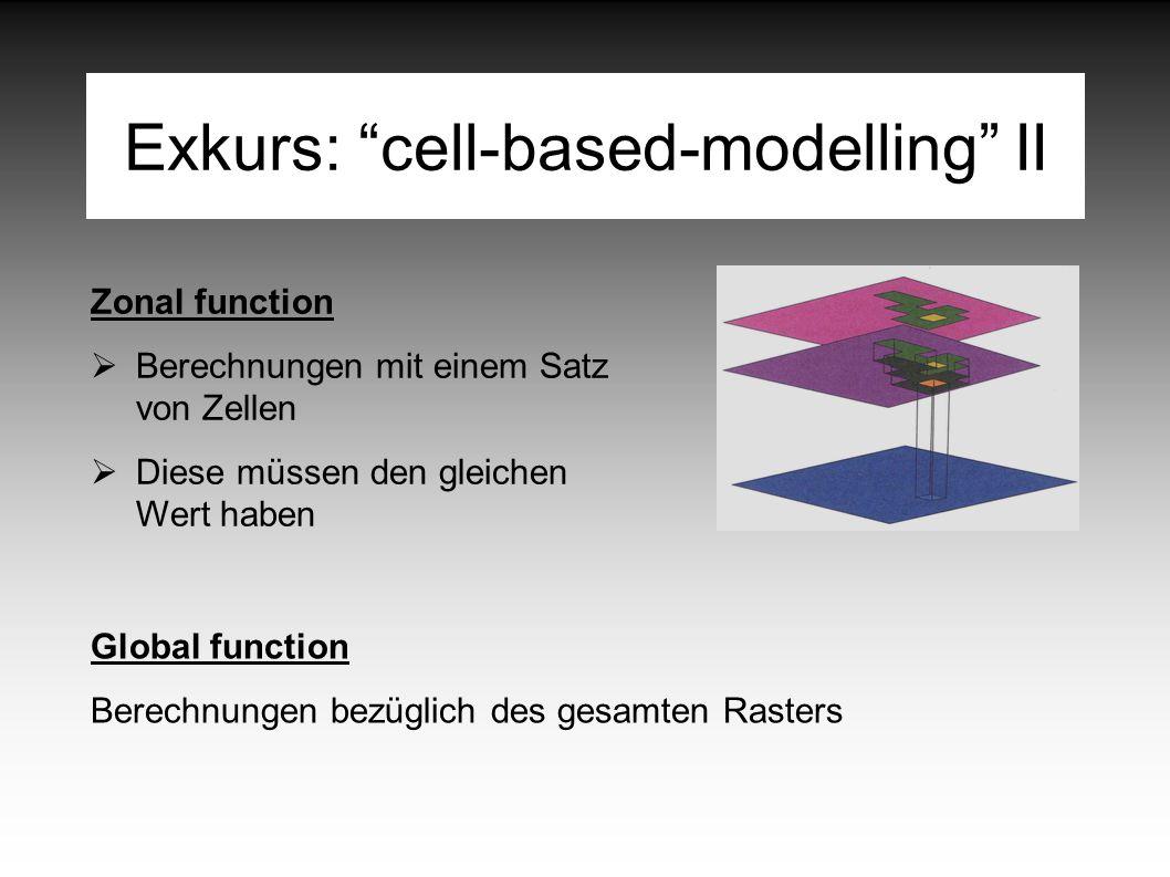 Exkurs: cell-based-modelling II Zonal function  Berechnungen mit einem Satz von Zellen  Diese müssen den gleichen Wert haben Global function Berechnungen bezüglich des gesamten Rasters
