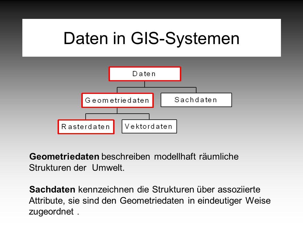 Daten in GIS-Systemen Geometriedaten beschreiben modellhaft räumliche Strukturen der Umwelt.