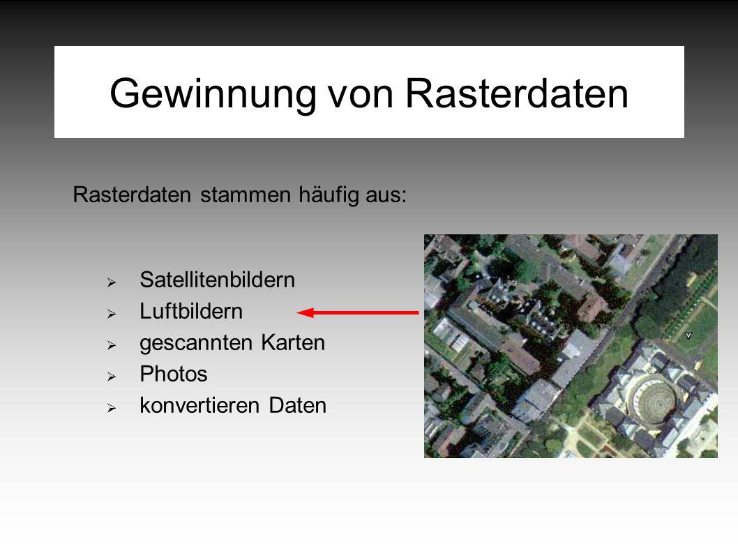 Gewinnung von Rasterdaten Rasterdaten stammen häufig aus:  Satellitenbildern  Luftbildern  gescannten Karten  Photos  konvertieren Daten