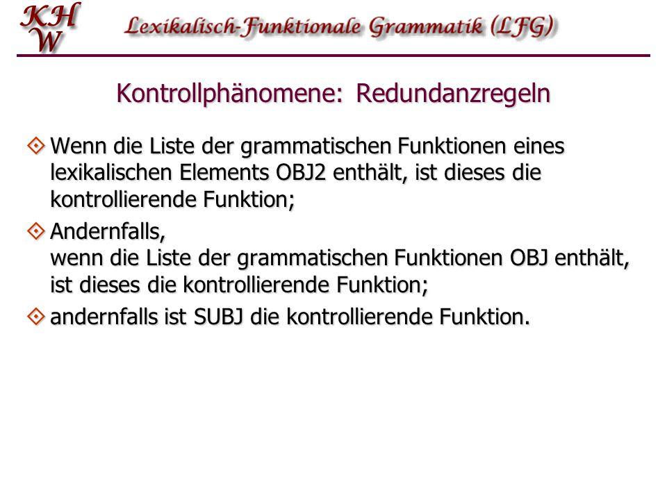 Kontrollphänomene: Redundanzregeln  Wenn die Liste der grammatischen Funktionen eines lexikalischen Elements OBJ2 enthält, ist dieses die kontrollierende Funktion;  Andernfalls, wenn die Liste der grammatischen Funktionen OBJ enthält, ist dieses die kontrollierende Funktion;  andernfalls ist SUBJ die kontrollierende Funktion.
