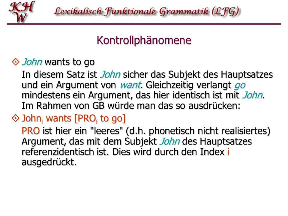 Kontrollphänomene  John wants to go In LFG würde man sagen, dass John gleichzeitig Argument von wants und go ist.