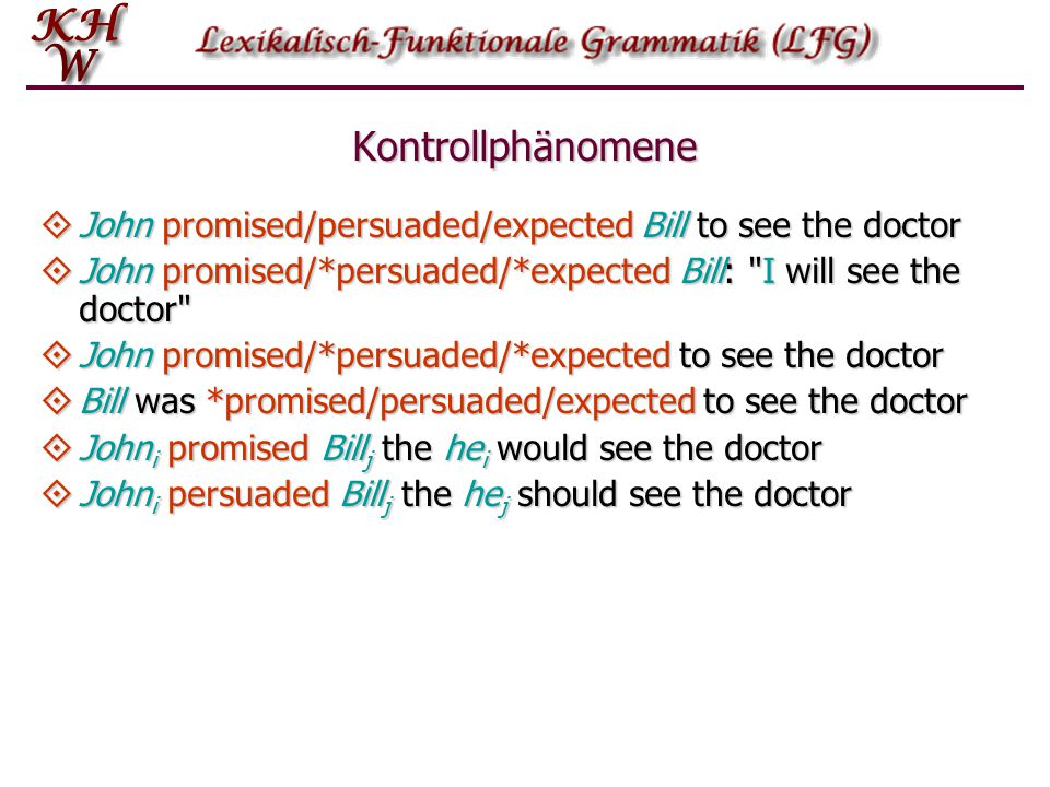 Kontrollphänomene  John promised/persuaded/expected Bill to see the doctor  John promised/*persuaded/*expected Bill: I will see the doctor  John promised/*persuaded/*expected to see the doctor  Bill was *promised/persuaded/expected to see the doctor  John i promised Bill j the he i would see the doctor  John i persuaded Bill j the he j should see the doctor