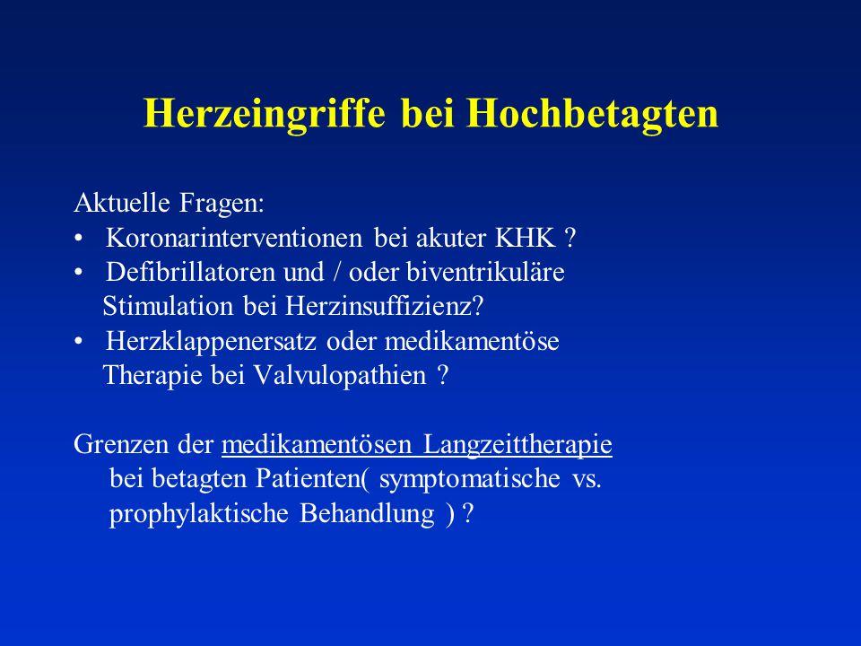 Herzeingriffe bei Hochbetagten Aktuelle Fragen: Koronarinterventionen bei akuter KHK ? Defibrillatoren und / oder biventrikuläre Stimulation bei Herzi