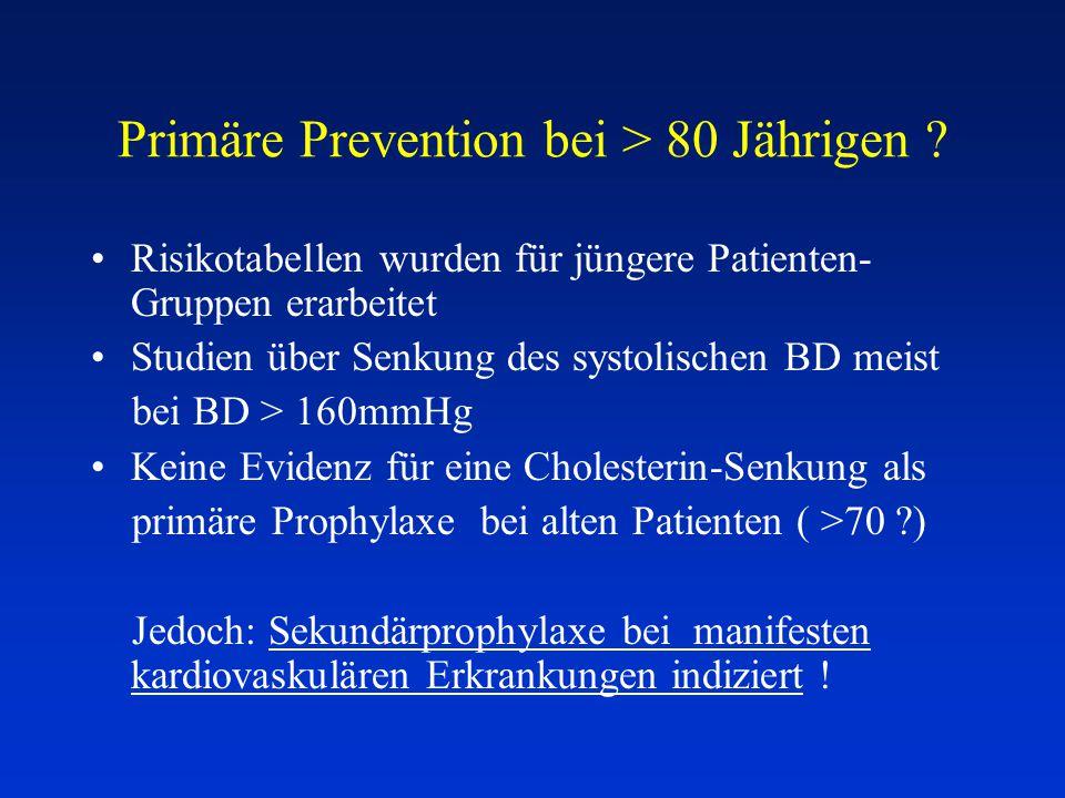 Primäre Prevention bei > 80 Jährigen ? Risikotabellen wurden für jüngere Patienten- Gruppen erarbeitet Studien über Senkung des systolischen BD meist