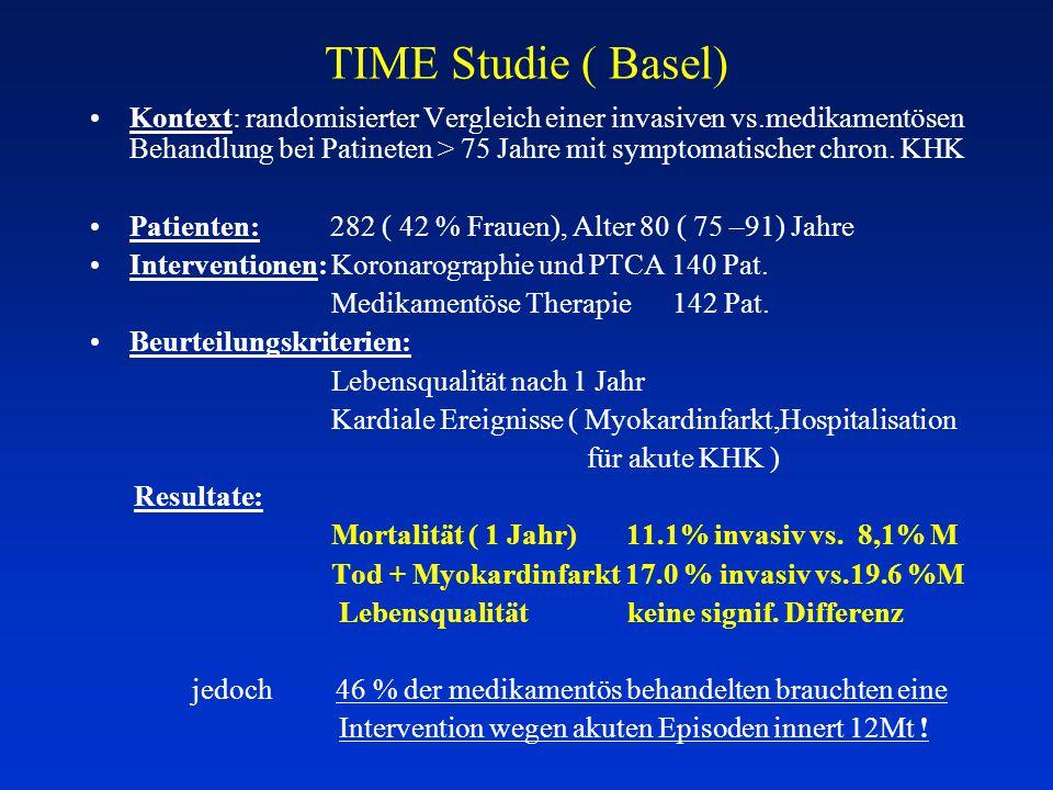 TIME Studie ( Basel) Kontext: randomisierter Vergleich einer invasiven vs.medikamentösen Behandlung bei Patineten > 75 Jahre mit symptomatischer chron.