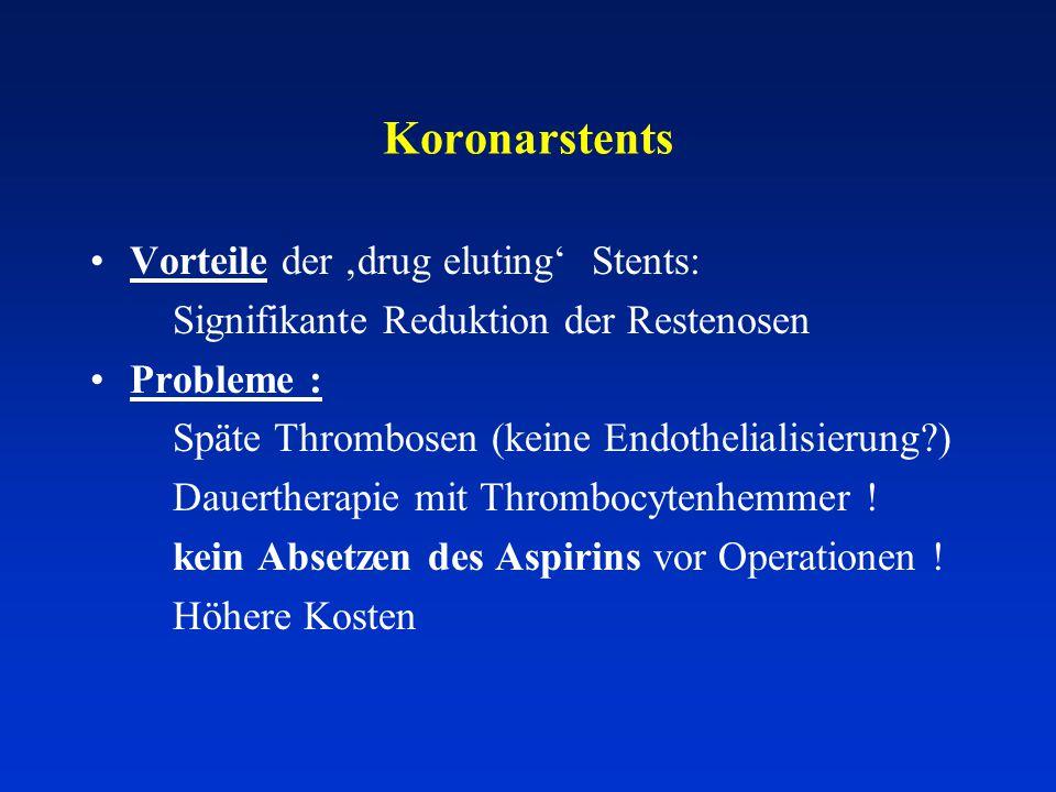 Koronarstents Vorteile der 'drug eluting' Stents: Signifikante Reduktion der Restenosen Probleme : Späte Thrombosen (keine Endothelialisierung?) Dauertherapie mit Thrombocytenhemmer .