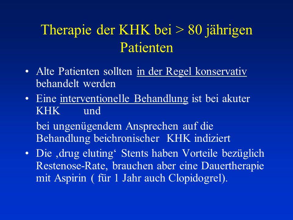 Therapie der KHK bei > 80 jährigen Patienten Alte Patienten sollten in der Regel konservativ behandelt werden Eine interventionelle Behandlung ist bei