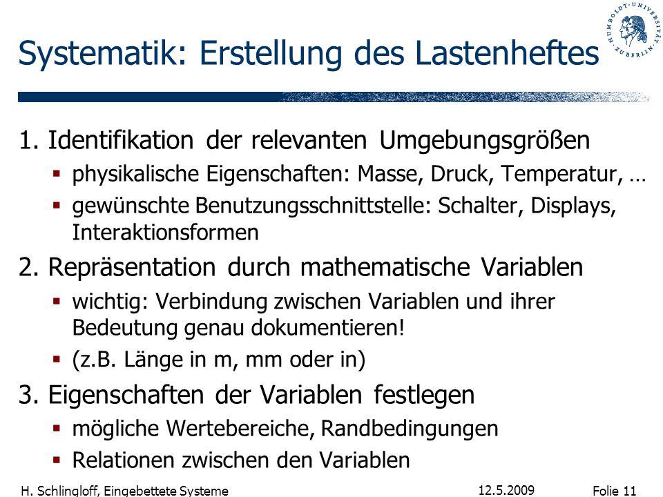 Folie 11 H. Schlingloff, Eingebettete Systeme 12.5.2009 Systematik: Erstellung des Lastenheftes 1. Identifikation der relevanten Umgebungsgrößen  phy