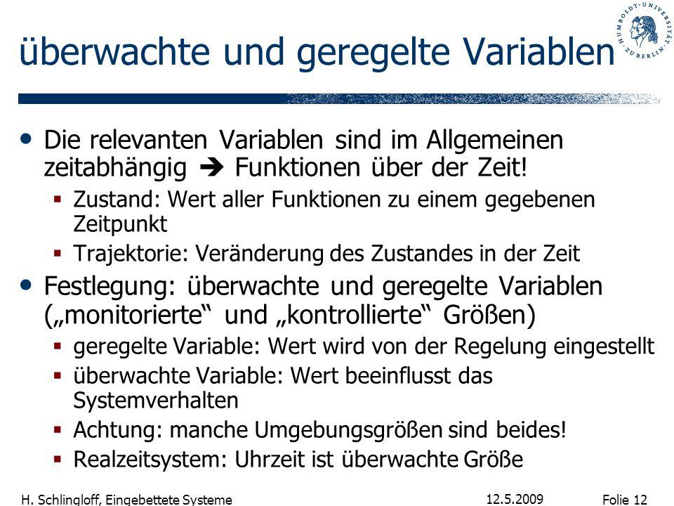 Folie 12 H. Schlingloff, Eingebettete Systeme 12.5.2009 überwachte und geregelte Variablen Die relevanten Variablen sind im Allgemeinen zeitabhängig 