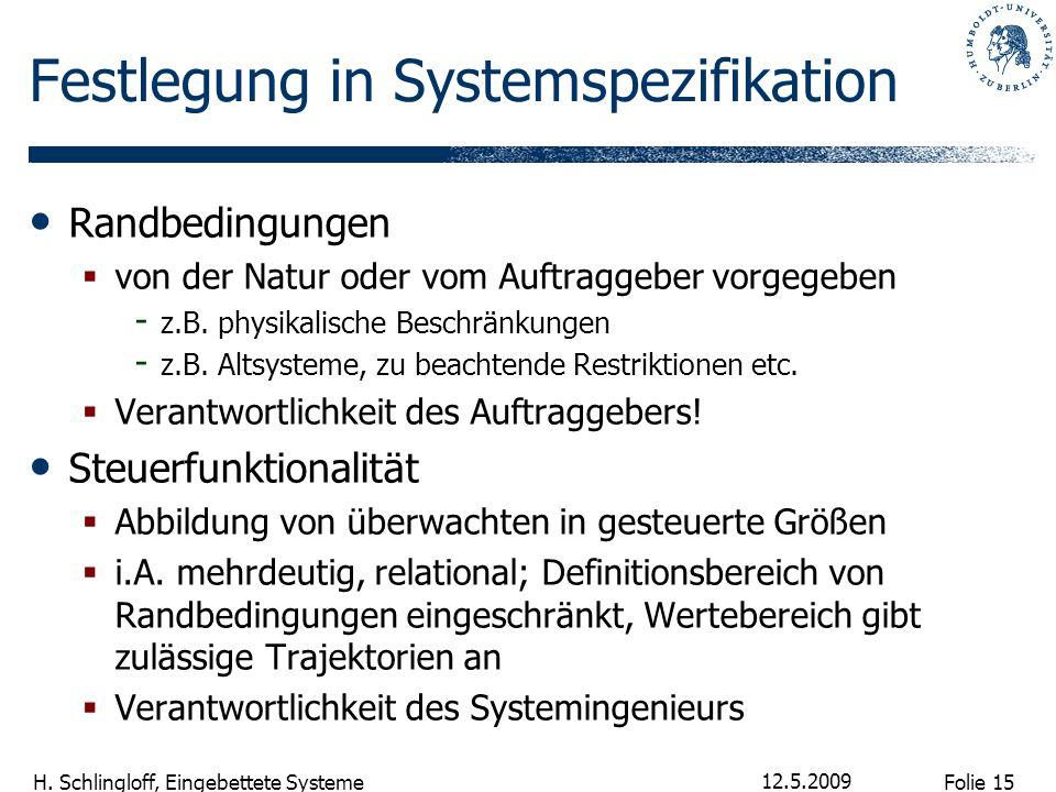 Folie 15 H. Schlingloff, Eingebettete Systeme 12.5.2009 Festlegung in Systemspezifikation Randbedingungen  von der Natur oder vom Auftraggeber vorgeg