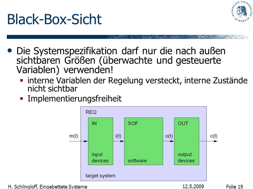 Folie 19 H. Schlingloff, Eingebettete Systeme 12.5.2009 Black-Box-Sicht Die Systemspezifikation darf nur die nach außen sichtbaren Größen (überwachte