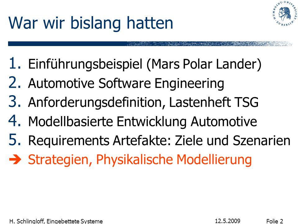 Folie 2 H. Schlingloff, Eingebettete Systeme 12.5.2009 War wir bislang hatten 1. Einführungsbeispiel (Mars Polar Lander) 2. Automotive Software Engine