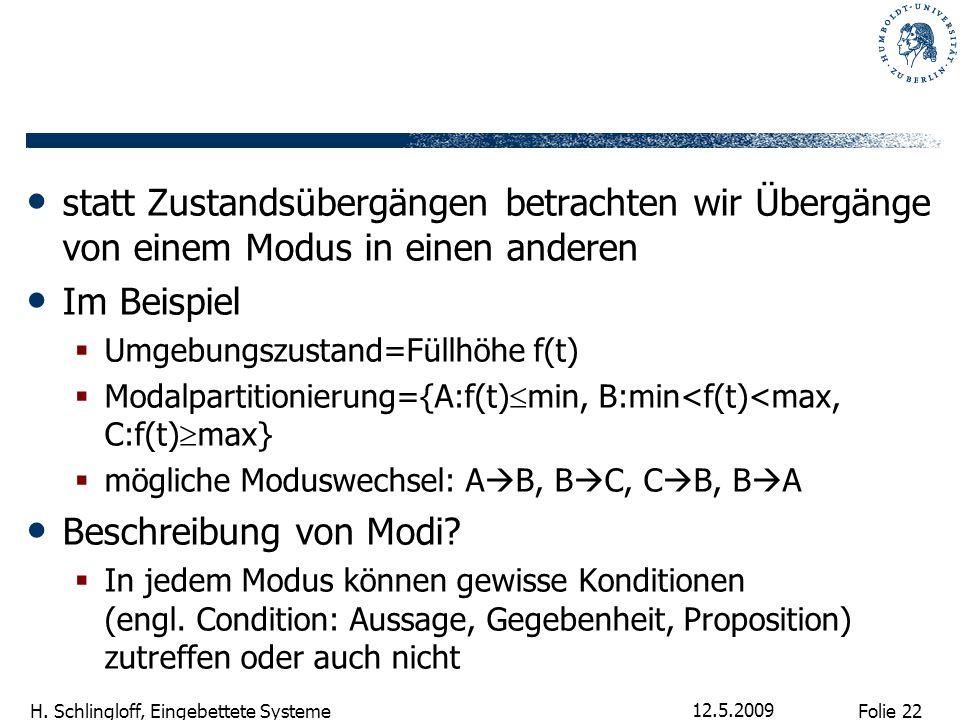 Folie 22 H. Schlingloff, Eingebettete Systeme 12.5.2009 statt Zustandsübergängen betrachten wir Übergänge von einem Modus in einen anderen Im Beispiel