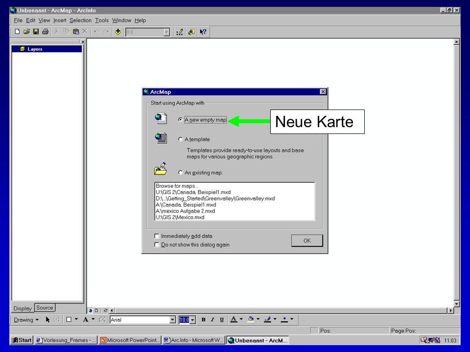 28.10.2002Erstellen von Karten: Layer und LegendenMichaela Mann Neue Karte