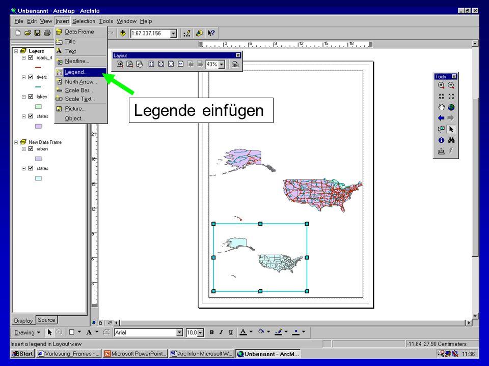 28.10.2002Erstellen von Karten: Layer und LegendenMichaela Mann Legende einfügen