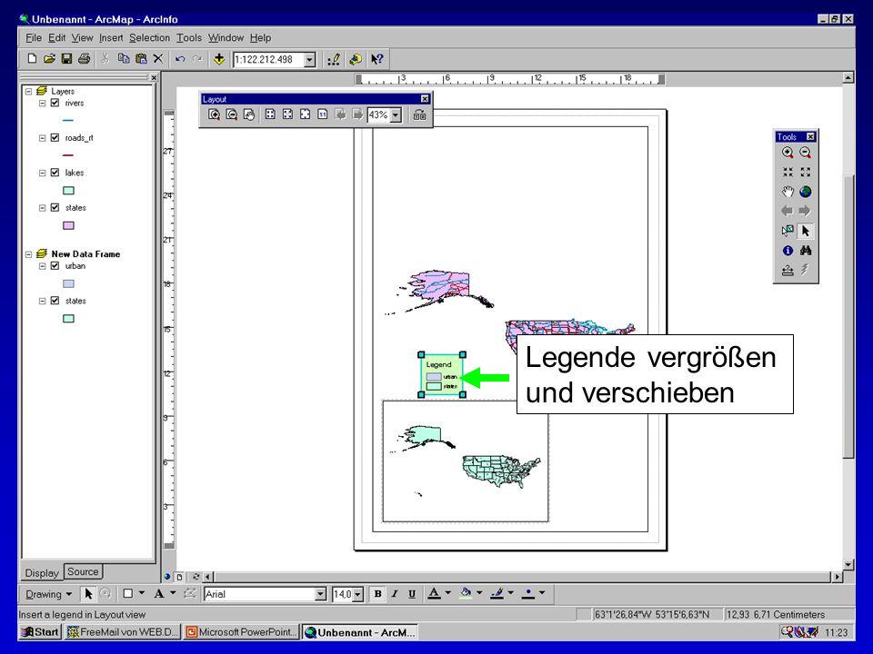 28.10.2002Erstellen von Karten: Layer und LegendenMichaela Mann Legende vergrößen und verschieben