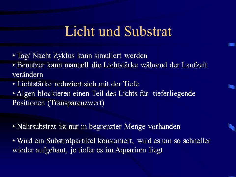 Licht und Substrat Tag/ Nacht Zyklus kann simuliert werden Benutzer kann manuell die Lichtstärke während der Laufzeit verändern Lichtstärke reduziert sich mit der Tiefe Algen blockieren einen Teil des Lichts für tieferliegende Positionen (Transparenzwert) Nährsubstrat ist nur in begrenzter Menge vorhanden Wird ein Substratpartikel konsumiert, wird es um so schneller wieder aufgebaut, je tiefer es im Aquarium liegt