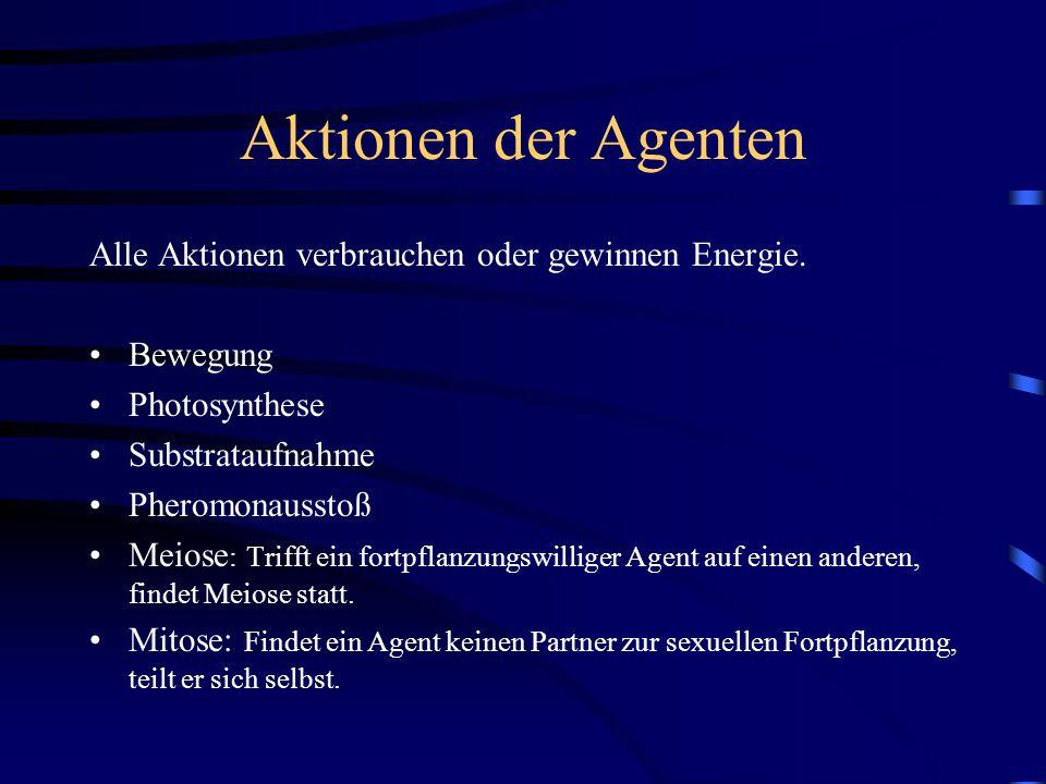 Aktionen der Agenten Alle Aktionen verbrauchen oder gewinnen Energie.