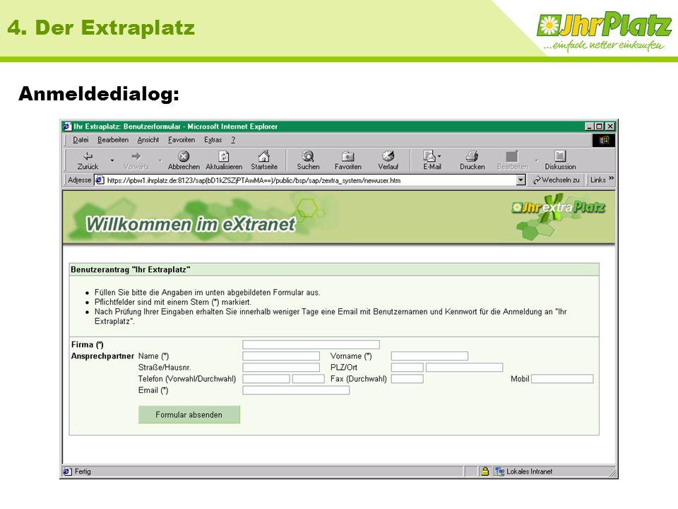 URL http://www.ihrextraplatz.de/extraplatz Verweis auf Antragsformular Anmeldedialog Anwenderdoku 4. Der Extraplatz Startseite: