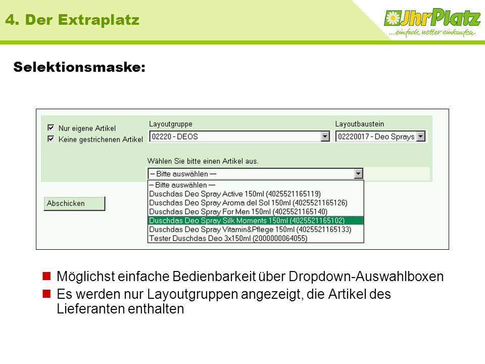 Details zur Aktion 4. Der Extraplatz Beispielbericht: