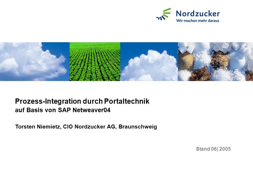 Stand 06| 2005 Prozess-Integration durch Portaltechnik auf Basis von SAP Netweaver04 Torsten Niemietz, CIO Nordzucker AG, Braunschweig
