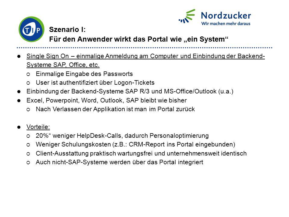 Single Sign On – einmalige Anmeldung am Computer und Einbindung der Backend- Systeme SAP, Office, etc.  Einmalige Eingabe des Passworts  User ist au