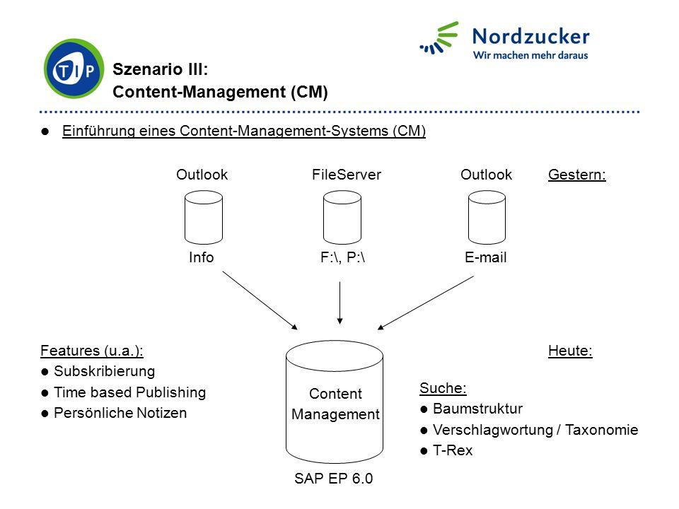 Szenario III: Content-Management (CM) Einführung eines Content-Management-Systems (CM) Outlook FileServer Outlook Info F:\, P:\ E-mail Content Managem
