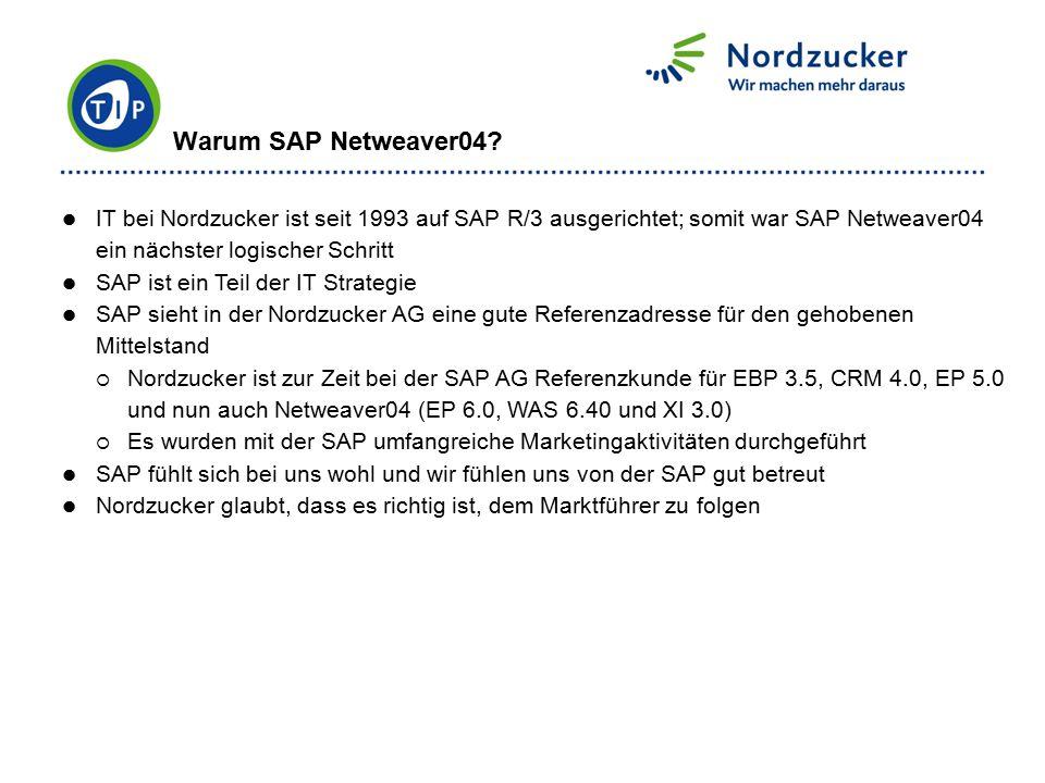 IT bei Nordzucker ist seit 1993 auf SAP R/3 ausgerichtet; somit war SAP Netweaver04 ein nächster logischer Schritt SAP ist ein Teil der IT Strategie S