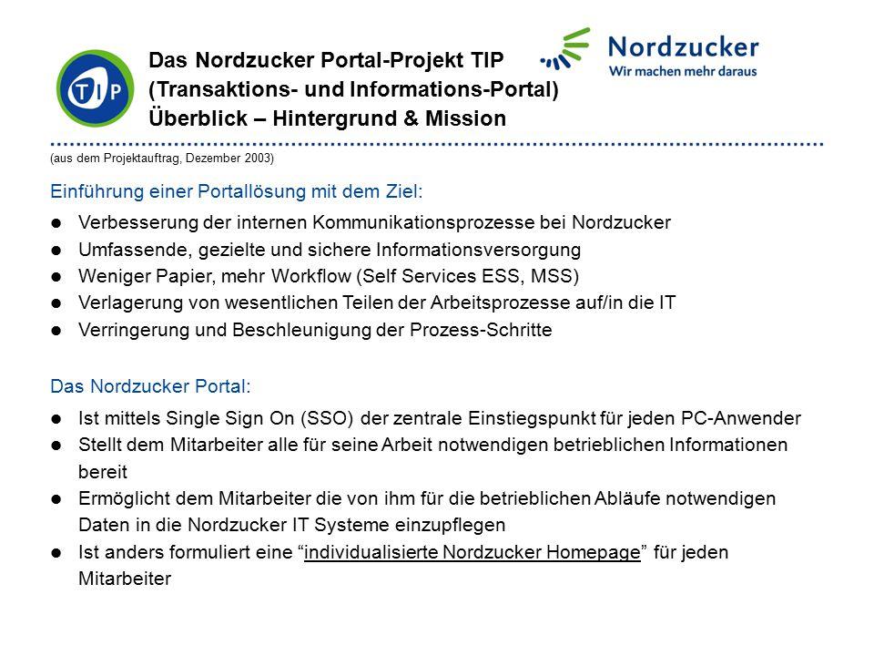 (aus dem Projektauftrag, Dezember 2003) Einführung einer Portallösung mit dem Ziel: Verbesserung der internen Kommunikationsprozesse bei Nordzucker Um