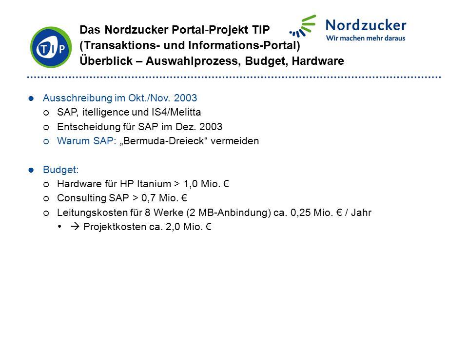 Das Nordzucker Portal-Projekt TIP (Transaktions- und Informations-Portal) Überblick – Auswahlprozess, Budget, Hardware Ausschreibung im Okt./Nov. 2003