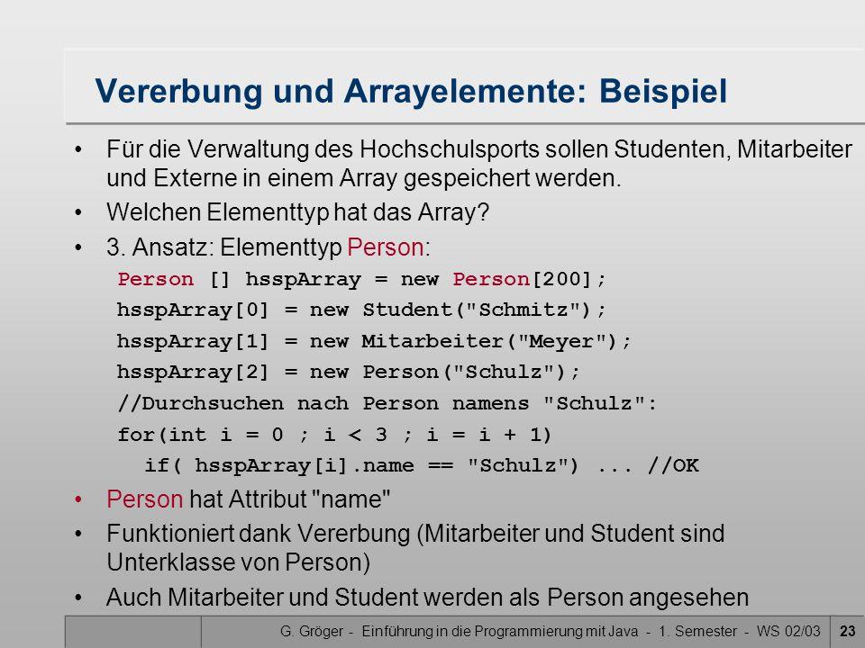 G. Gröger - Einführung in die Programmierung mit Java - 1. Semester - WS 02/0323 Vererbung und Arrayelemente: Beispiel Für die Verwaltung des Hochschu