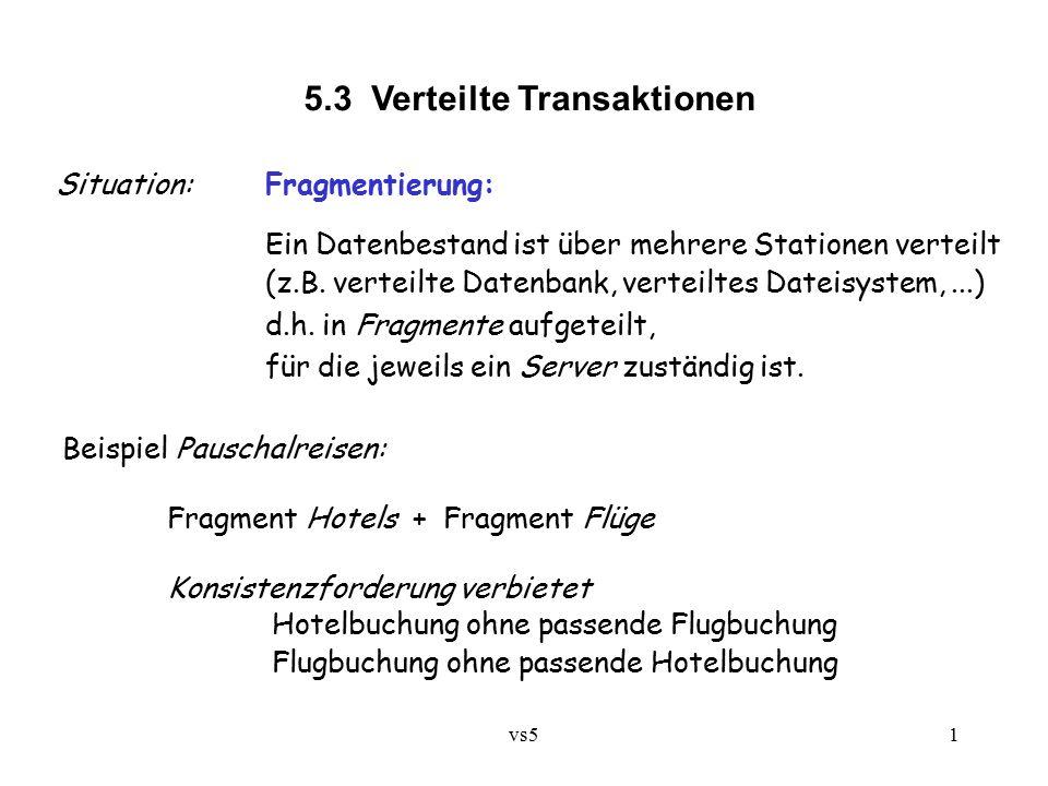 vs51 5.3 Verteilte Transaktionen Situation:Fragmentierung: Ein Datenbestand ist über mehrere Stationen verteilt (z.B.