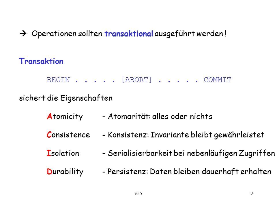 vs53 5.3.1 Serialisierbarkeit durch Ausschlußsynchronisation (für kleine fragmentierte Objekte, nicht für ganze Datenbanken!)  Verteilter Ausschluß (4.4  ):4.4 zu strikt angesichts lesender vs.