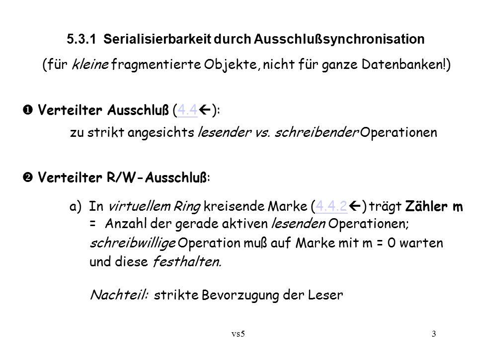 """vs54 b) Virtueller Ring von n Stationen, kreisende Marke enthält m """"Stimmen (anfangs m = n); festgelegte Quoren für Lese- bzw."""
